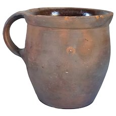 American Redware Clay Pottery One-Handle Bean Crock Pot