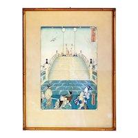 Japanese UTAGAWA KUNISADA Toyokuni III Ukiyo-e Woodblock Print, Tokaido Processional