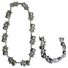 Vintage Italian 800 Silver Rose Necklace and Bracelet Set