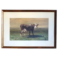 HARVEY OTIS YOUNG Oil on Board Painting, Grazing Bull