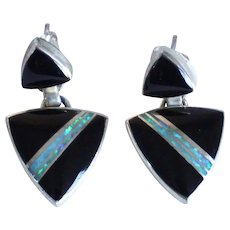Pair Vintage Native American MARIE TSOSIE Sterling Silver, Opal and Jet Pierced Earrings