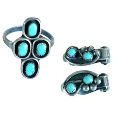Vintage American Southwest Silver and Turquoise Clip-On Earrings and Ring