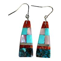 Vintage Native American Santo Domingo Silver Stone Mosaic Drop Earrings