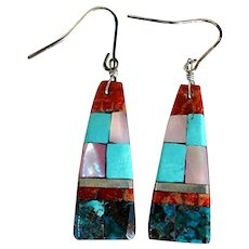 Vintage Native American Santo Domingo Silver Stone Mosaic Drop Earrings