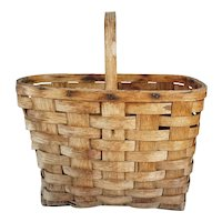 Large Vintage American Hickory Splint Market / Gathering Basket