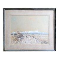 HARVEY OTIS YOUNG Gouache on Paper Painting, Western Landscape