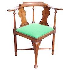 English Georgian Cherry/Applewood Upholstered Seat Corner Chair