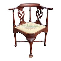 American Chippendale Walnut Needlepoint Seat Corner Chair