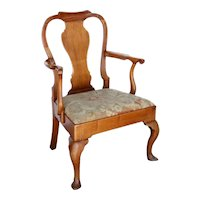 English Queen Anne Mahogany Upholstered Seat Armchair