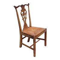 American Chippendale Style Mahogany Rush Seat Dining Side Chair