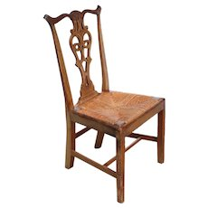 American Goddard-Townsend Style Mahogany Rush Seat Dining Side Chair