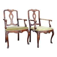 Pair Italian Rococo Walnut Upholstered Seat Open Armchairs