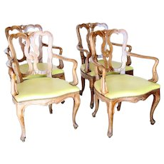 Set of Four Italian Venetian Rococo Revival Pale Walnut Upholstered Seat Armchairs
