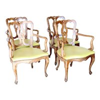 Set of Four Vintage Italian 18th century Style Faded Cherry Upholstered Seat Armchairs