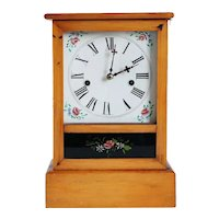 American Waterbury Pine and Reverse Painted Glass Shelf / Mantel Clock