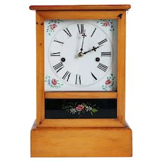 American Waterbury Pine and Reverse Painted Glass 8-Day 30-Hour Shelf / Mantel Clock
