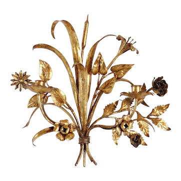 Vintage Italian Gilt Iron Two-Arm Floral Candle Wall Sconce