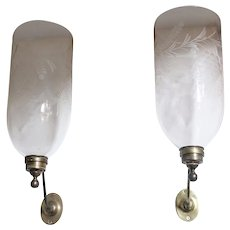 Pair English Georgian Brass and Etched Glass Hurricane Shade One-Light Candle Sconces