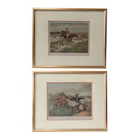 Two After HENRY THOMAS ALKEN Color Prints, The Leap and Going Down a Difficulty