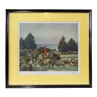 After SIR ALFRED J. MUNNINGS Color Print, The Belvoir Hunt, Taking Hounds to Cover