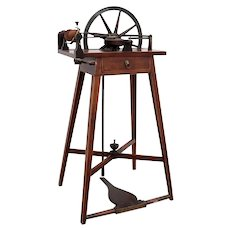 Fine English John Planta Sheraton John Planta Inlaid Mahogany Spinning Wheel