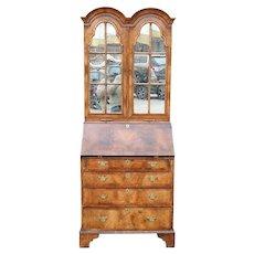 Vintage English George III Style Walnut Veneer Secretaire Mirorred Bookcase