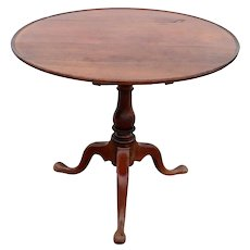 American Pennsylvania Walnut Oval Birdcage Tilt-top Side Table