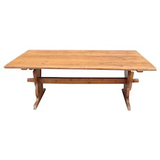 Swedish Pine Wide Plank Trestle Dining Table