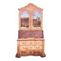 German Baroque Burr Walnut Veneer Two-Part Secretaire Glazed Door Bookcase
