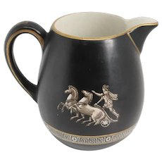 English Prattware Black Earthenware Pottery Old Greek Creamer Jug