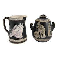 English Prattware Black Earthenware Pottery Old Greek Creamer and Sugar
