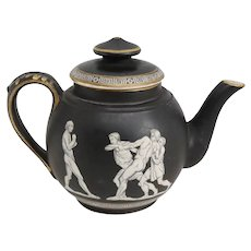 Small English Prattware Black Earthenware Pottery Old Greek Teapot