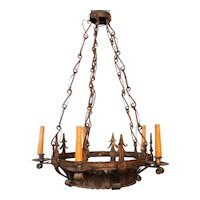 Vintage Wrought Iron and Glass Crown Form Five-Light Chandelier