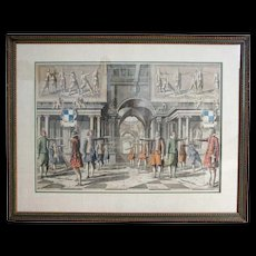 GIRARD THIBAULT Academy of the Sword Hand Colored Engraving, Plate XII