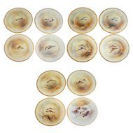 Set 12 English Royal Doulton for Tiffany Gilt and Hand Painted China Fish Plates