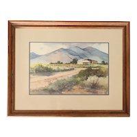 JOAN HOWE Watercolor on Paper, Desert Mountain Landscape