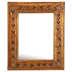 Small Florentine Gilt Gesso and Painted Wood Framed Rectangular Wall Mirror