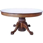 American Victorian Mahogany Extending Pedestal Oval Dining Table