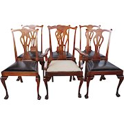 Set of Six American Chippendale Style Mahogany Leather Seat Dining Chairs