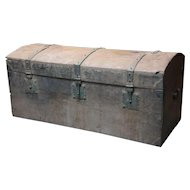 Early Indo-Portuguese Iron Mounted Painted Teak Dome Top Trunk
