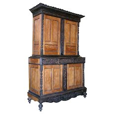 Indo-Portuguese Satinwood and Ebony Step-back Cupboard