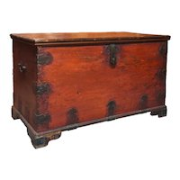 Anglo Indian Chippendale Brass Mounted Painted Teak Blanket Chest