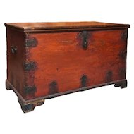 Indo-Portuguese Brass Mounted Painted Blanket Chest