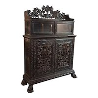 Indo-Portuguese Ebonized Rosewood Two-Part Cabinet