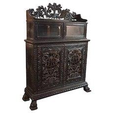 Indo-Portuguese Ebonized Rosewood Two-Part Cabinet