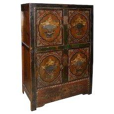 Mongolian Painted Poplar Side Cabinet
