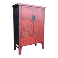 Chinese Red Lacquer Kang Cabinet