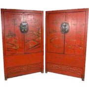 Pair of Chinese Red Lacquer Elm Kang Cabinets