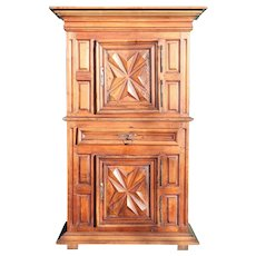Large French Louis XIII Pale Walnut Homme Debout Chateau de Theobon Cupboard