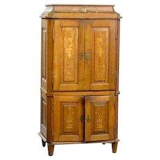 German Baroque Inlaid Oak Cabinet